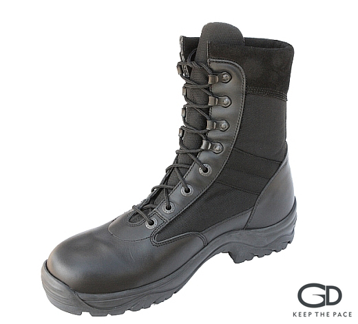 Genuine Black Waterproofed Leather 2.0-2.2mm Thick| CORDURA® Black Fabric| High Grip Sole| Fast Release Hooks |Velvet Leather Collar| Sizes 39 - 45