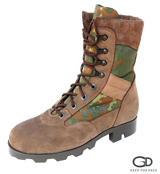 Genuine Velvet Leather 2.0-2.2mm Thick| CORDURA® Green Camouflage Fabric| High Resistance Sole| Fast Release Hooks| Soft Collar| Sizes 39 - 45