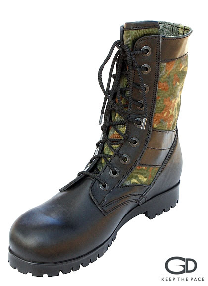 Genuine Black Waterproofed Leather 2.0-2.2mm Thick| CORDURA® Green Camouflage| High Resistance Sole| Designed for High Temperature Climate| Sizes 39-45