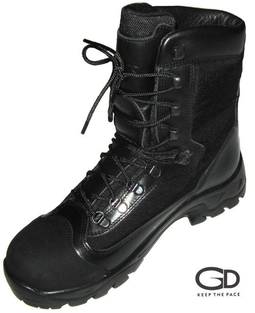 Genuine Black Waterproofed Leather | Leather thickness 2.0 - 2.2mm| CORDURA® Black Fabric | Two Layer Rubber Sole - TR & Polyurethane| Lining - Regular/Waterproof| Outter Toe Cap - Rubber Reinforced/Leather Reinforced | Height (size 42) - 23 cm| Sizes 39 - 45